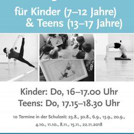 Yoga für Kinder und Teenager wieder ab August: Donnerstags, 16.00-17.00 Uhr & 17.15-18.30 Uhr